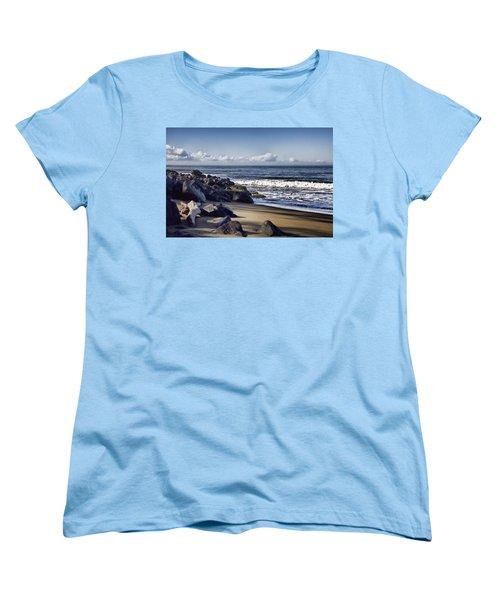 Black Sand Beach  Women's T-Shirt (Standard Cut) by Douglas Barnard