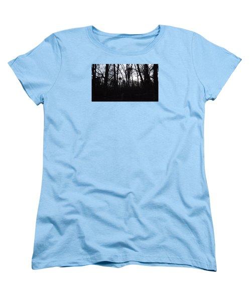 Women's T-Shirt (Standard Cut) featuring the photograph Black Woods by Don Koester