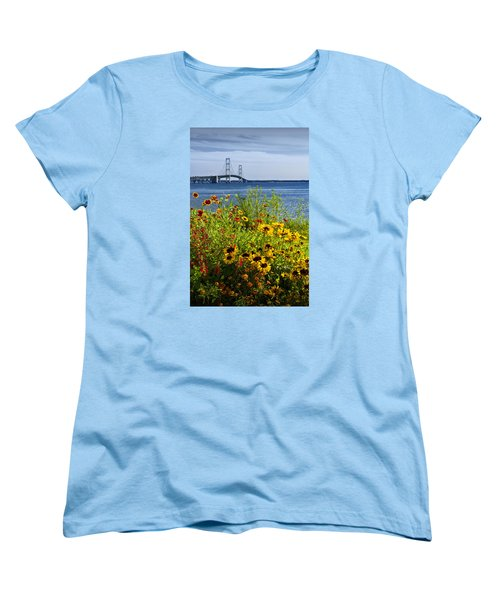 Blooming Flowers By The Bridge At The Straits Of Mackinac Women's T-Shirt (Standard Cut) by Randall Nyhof