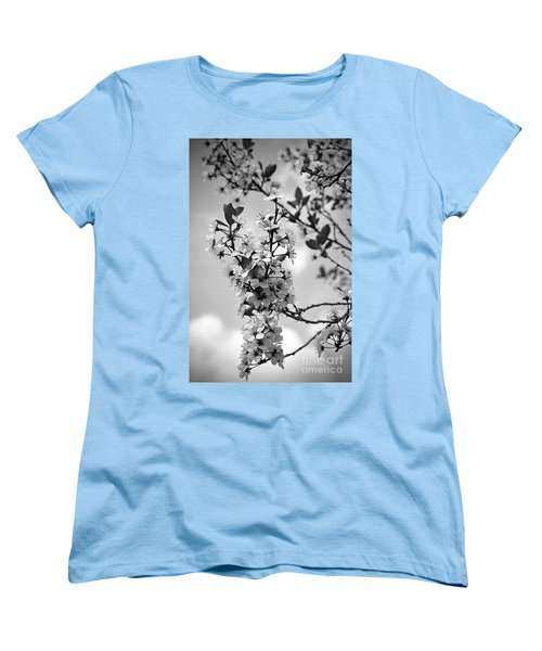 Blossoms In Black And White Women's T-Shirt (Standard Cut) by Sue Stefanowicz