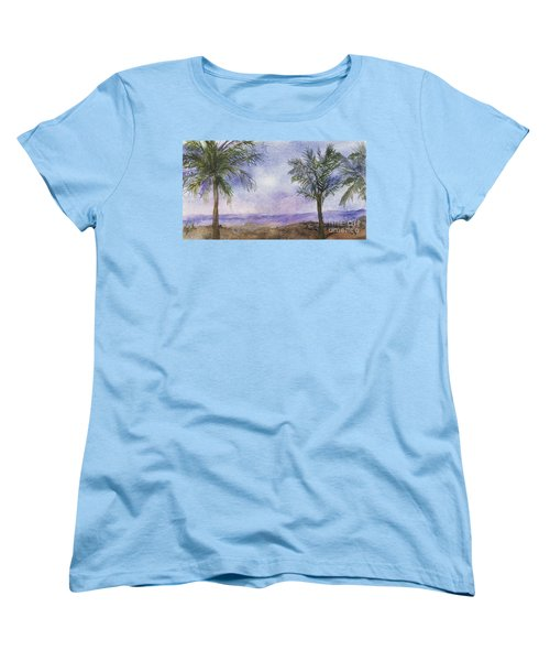 Women's T-Shirt (Standard Cut) featuring the painting Blowing By The Ocean by Vicki  Housel