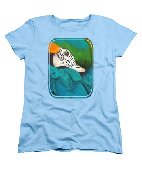 Blue And Gold Macaw Women's T-Shirt (Standard Cut) by Becky Herrera