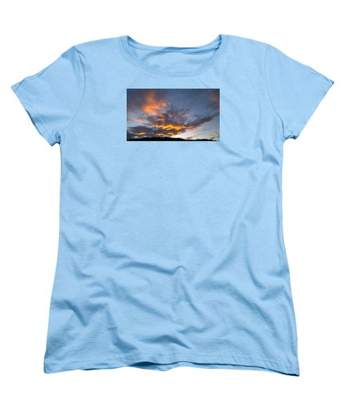 Blue And Orange Sunset Over Blue Ridge Mountains Women's T-Shirt (Standard Cut) by Kelly Hazel