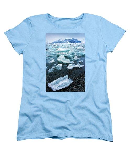 Blue And Turquoise Ice Jokulsarlon Glacier Lagoon Iceland Women's T-Shirt (Standard Cut) by Matthias Hauser