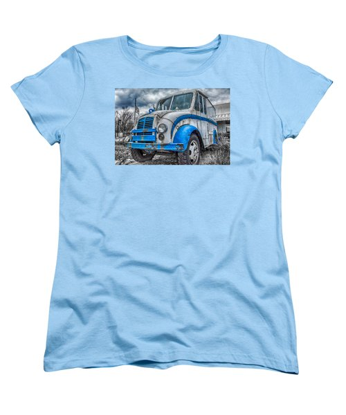 Blue And White Divco Women's T-Shirt (Standard Cut) by Guy Whiteley