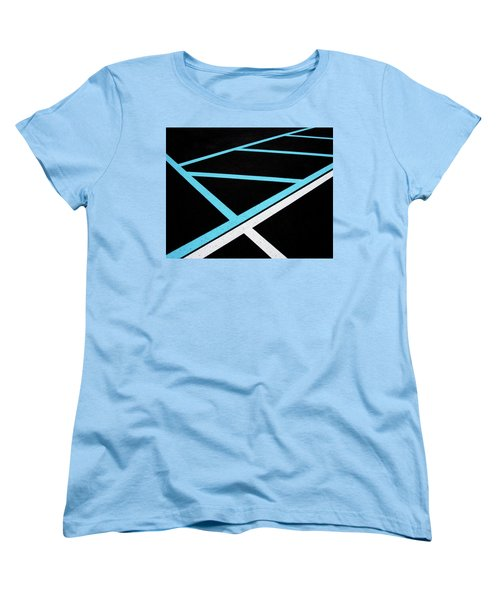 Blue And White Traffic Line Neighbors Women's T-Shirt (Standard Cut) by Gary Slawsky
