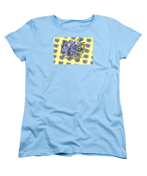 Women's T-Shirt (Standard Cut) featuring the drawing Blue And Yellow Cat Pattern by Saribelle Rodriguez