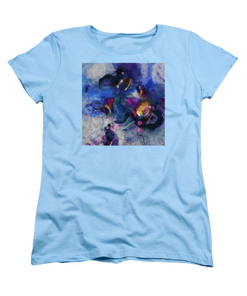 Women's T-Shirt (Standard Cut) featuring the painting Blue And Yellow Minimalist / Abstract Painting by Ayse Deniz