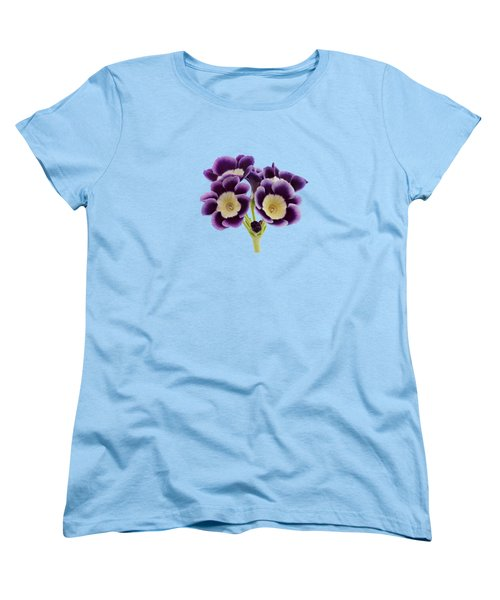 Women's T-Shirt (Standard Cut) featuring the photograph Blue Auricula On A Transparent Background by Paul Gulliver
