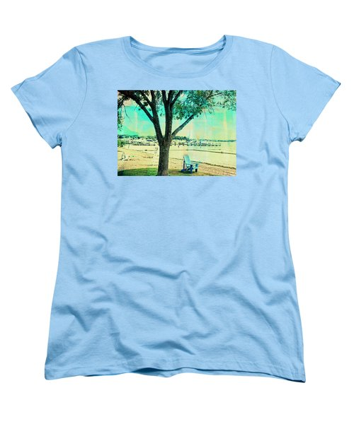 Women's T-Shirt (Standard Cut) featuring the photograph Blue Beach Chair by Susan Stone