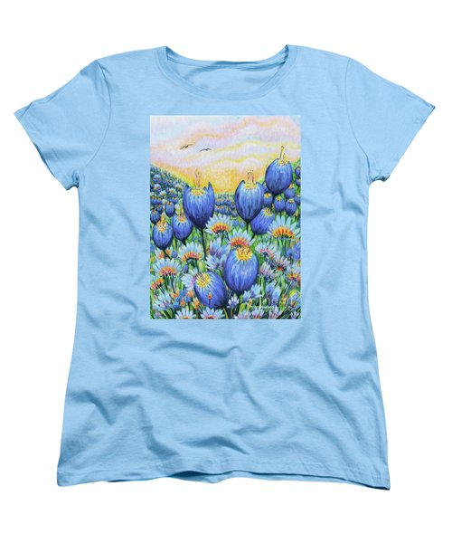 Women's T-Shirt (Standard Cut) featuring the painting Blue Belles by Holly Carmichael