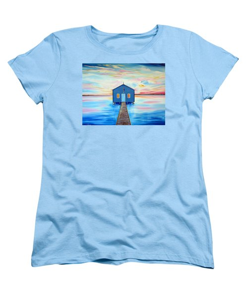 Blue Boat Shed By The Swan River Perth Women's T-Shirt (Standard Cut)