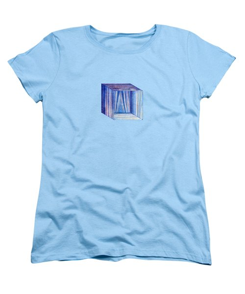 Blue Box Sitting Women's T-Shirt (Standard Cut) by YoPedro
