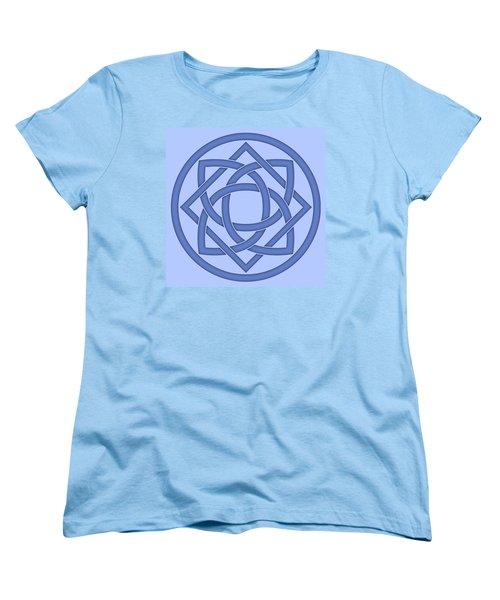 Women's T-Shirt (Standard Cut) featuring the digital art Blue Celtic Knot by Jane McIlroy
