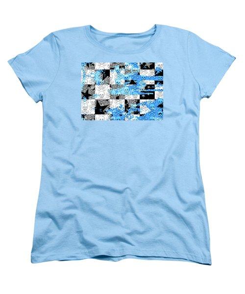 Blue Checker Skull Splatter Women's T-Shirt (Standard Cut) by Roseanne Jones
