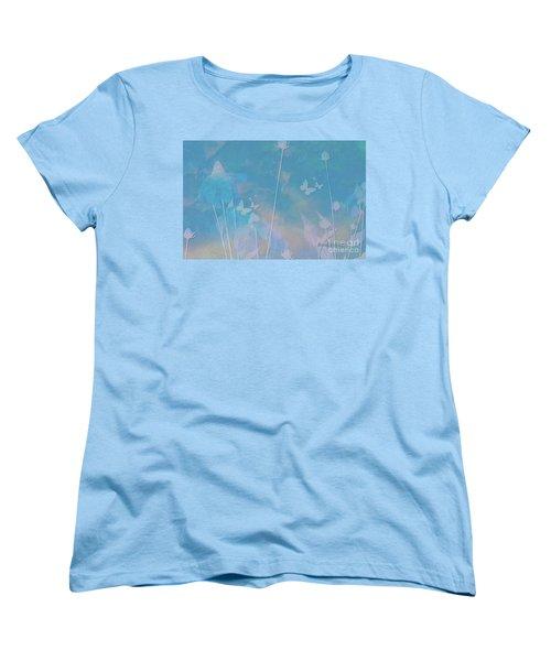 Blue Daisies And Butterflies Women's T-Shirt (Standard Cut) by Sherri's Of Palm Springs