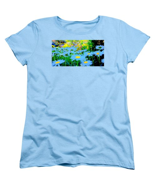 Women's T-Shirt (Standard Cut) featuring the mixed media Blue Daisy by Terence Morrissey