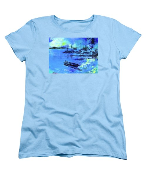 Women's T-Shirt (Standard Cut) featuring the painting Blue Dream 2 by Anil Nene