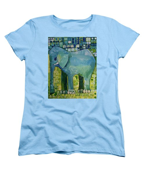 Women's T-Shirt (Standard Cut) featuring the painting Blue Elephant by Donna Howard