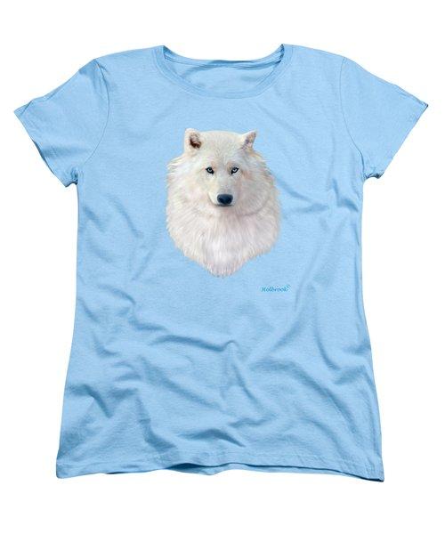 Blue-eyed Snow Wolf Women's T-Shirt (Standard Cut) by Glenn Holbrook