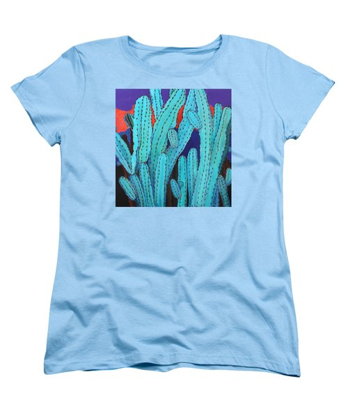 Blue Flame Cactus Acrylic Women's T-Shirt (Standard Cut) by M Diane Bonaparte