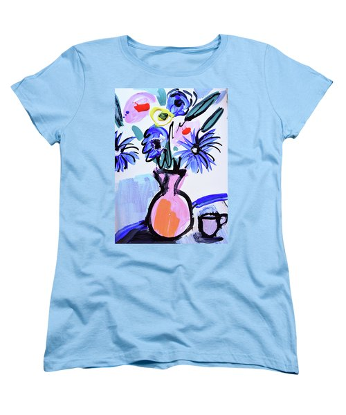 Blue Flowers And Coffee Cup Women's T-Shirt (Standard Cut) by Amara Dacer