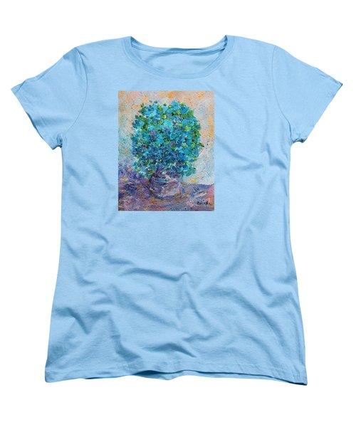 Blue Flowers In A Vase Women's T-Shirt (Standard Cut) by AmaS Art