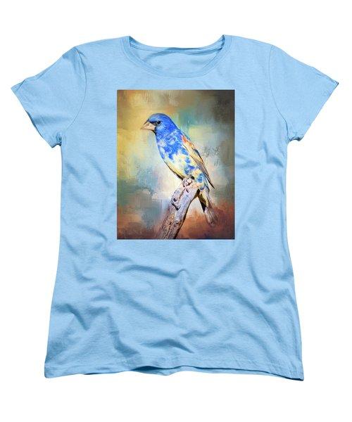 Blue Grosbeak Women's T-Shirt (Standard Cut) by Barbara Manis