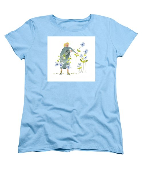 Women's T-Shirt (Standard Cut) featuring the painting Blue Harvest by Leanne WILKES