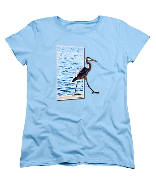 Blue Heron Strutting Out Of Frame Women's T-Shirt (Standard Cut) by Roger Wedegis