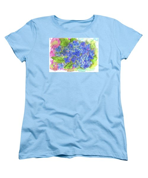 Women's T-Shirt (Standard Cut) featuring the painting Blue Hydrangea by Cathie Richardson