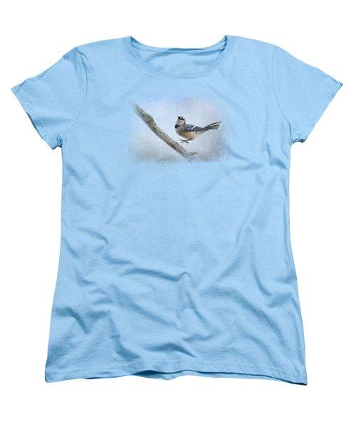 Blue Jay In The Snow Women's T-Shirt (Standard Cut) by Jai Johnson