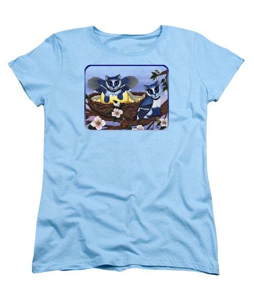 Blue Jay Kittens Women's T-Shirt (Standard Cut) by Carrie Hawks