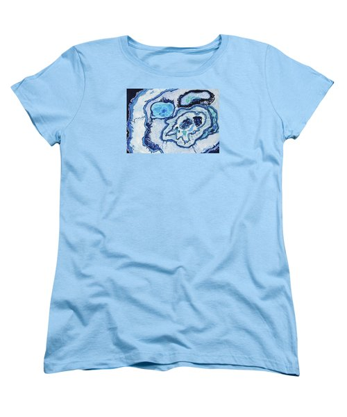Women's T-Shirt (Standard Cut) featuring the painting Blue Lace Agate I by Ellen Levinson