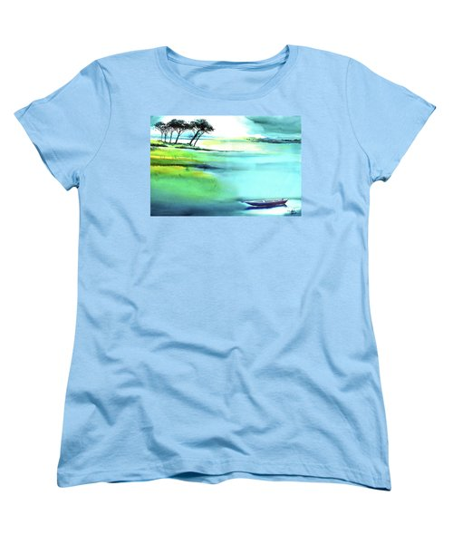 Women's T-Shirt (Standard Cut) featuring the painting Blue Lagoon by Anil Nene