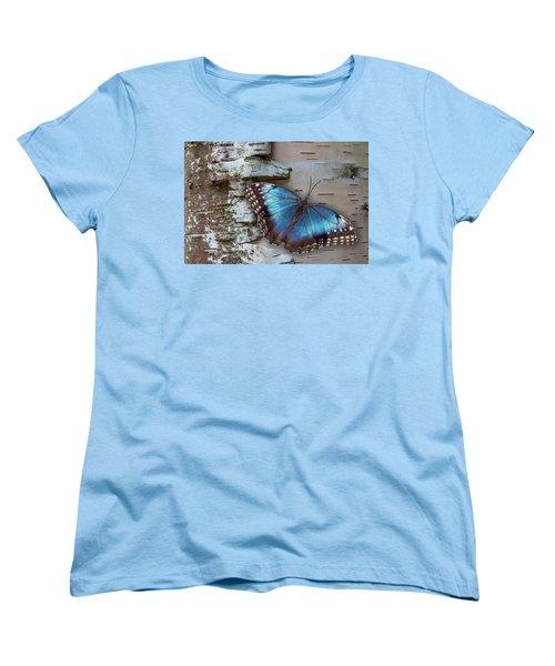 Blue Morpho Butterfly On White Birch Bark Women's T-Shirt (Standard Cut) by Patti Deters