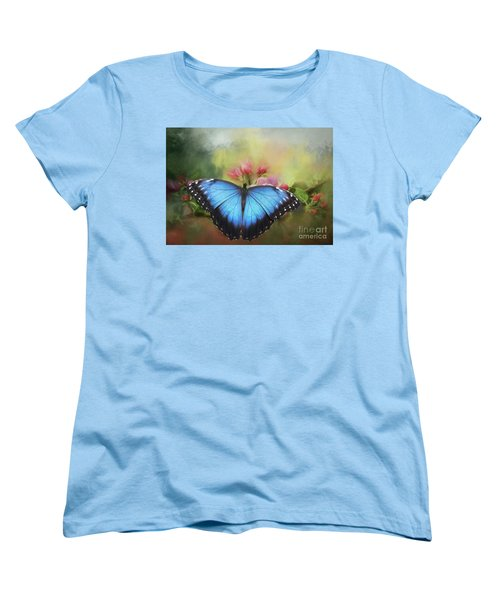 Blue Morpho On A Blossom Women's T-Shirt (Standard Cut) by Eva Lechner