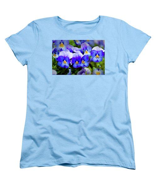 Women's T-Shirt (Standard Cut) featuring the photograph Blue Pansies by Tamyra Ayles