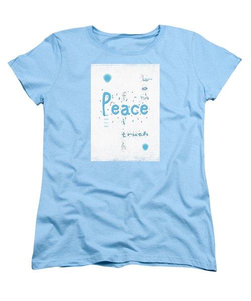 Women's T-Shirt (Standard Cut) featuring the digital art Blue Peace by Linda Prewer