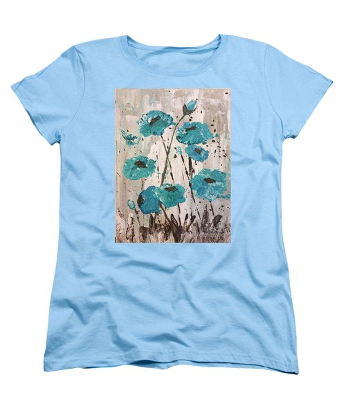Women's T-Shirt (Standard Cut) featuring the painting Blue Poppies by Lucia Grilletto