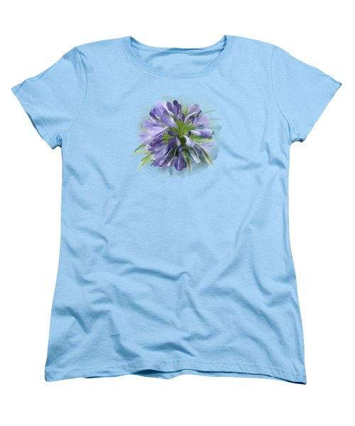 Blue Purple Flowers Women's T-Shirt (Standard Cut) by Ivana Westin