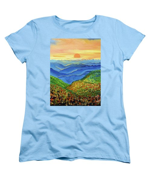 Women's T-Shirt (Standard Cut) featuring the painting Blue Ridge Mountain Morn by Ecinja Art Works