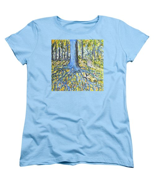 Blue Roots Women's T-Shirt (Standard Cut) by Evelina Popilian