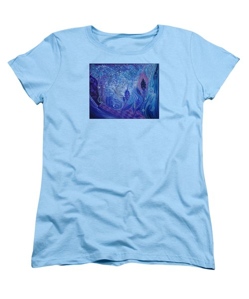 Blue Rosebud Ballroom Women's T-Shirt (Standard Cut) by Adria Trail