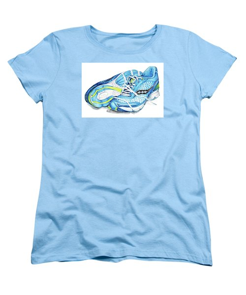 Blue Running Shoes Women's T-Shirt (Standard Cut) by Heidi Kriel