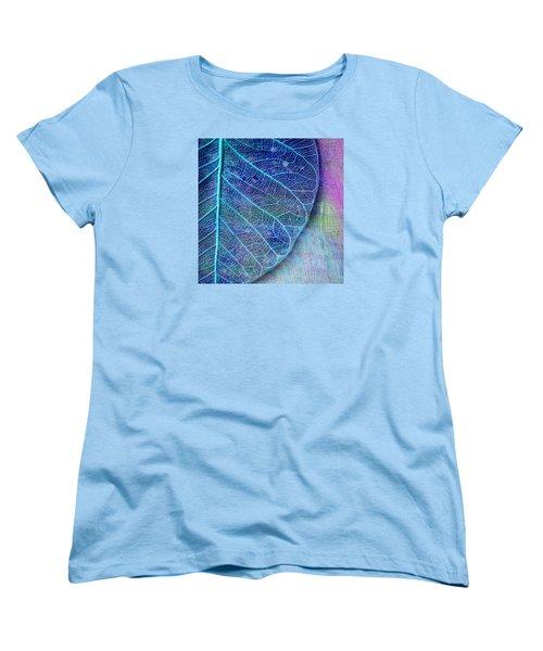 Blue Skeletal Leaf Women's T-Shirt (Standard Cut) by Bonnie Bruno