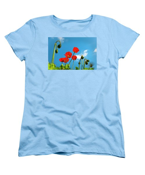 Women's T-Shirt (Standard Cut) featuring the photograph Blue Sky And Poppies by Tamyra Ayles
