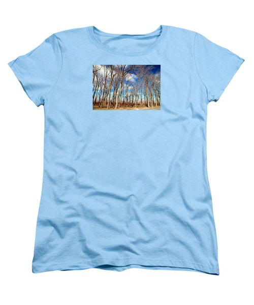 Women's T-Shirt (Standard Cut) featuring the photograph Blue Sky And Trees by Valentino Visentini