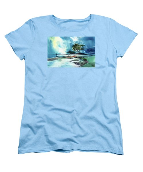 Women's T-Shirt (Standard Cut) featuring the painting Blue Sky by Anil Nene