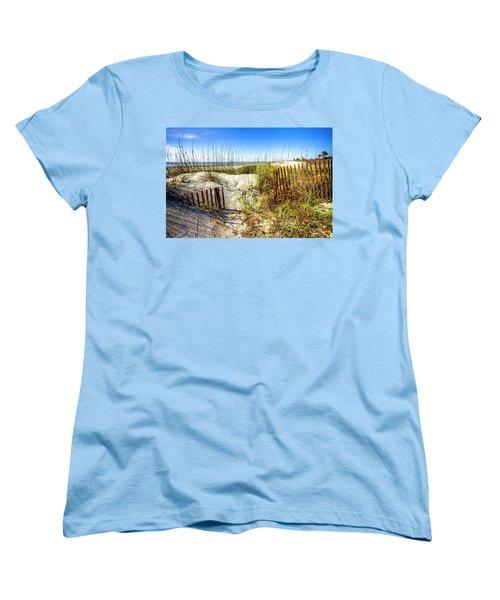 Women's T-Shirt (Standard Cut) featuring the photograph Blue Sky Dunes by Debra and Dave Vanderlaan